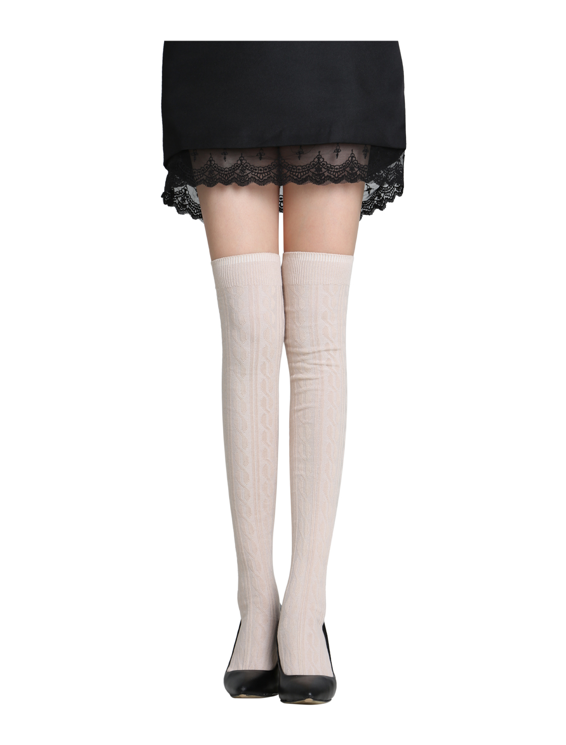 Ladies Over Knee Stretchy Skinny Ribs Knitted Stockings Beige 9-11