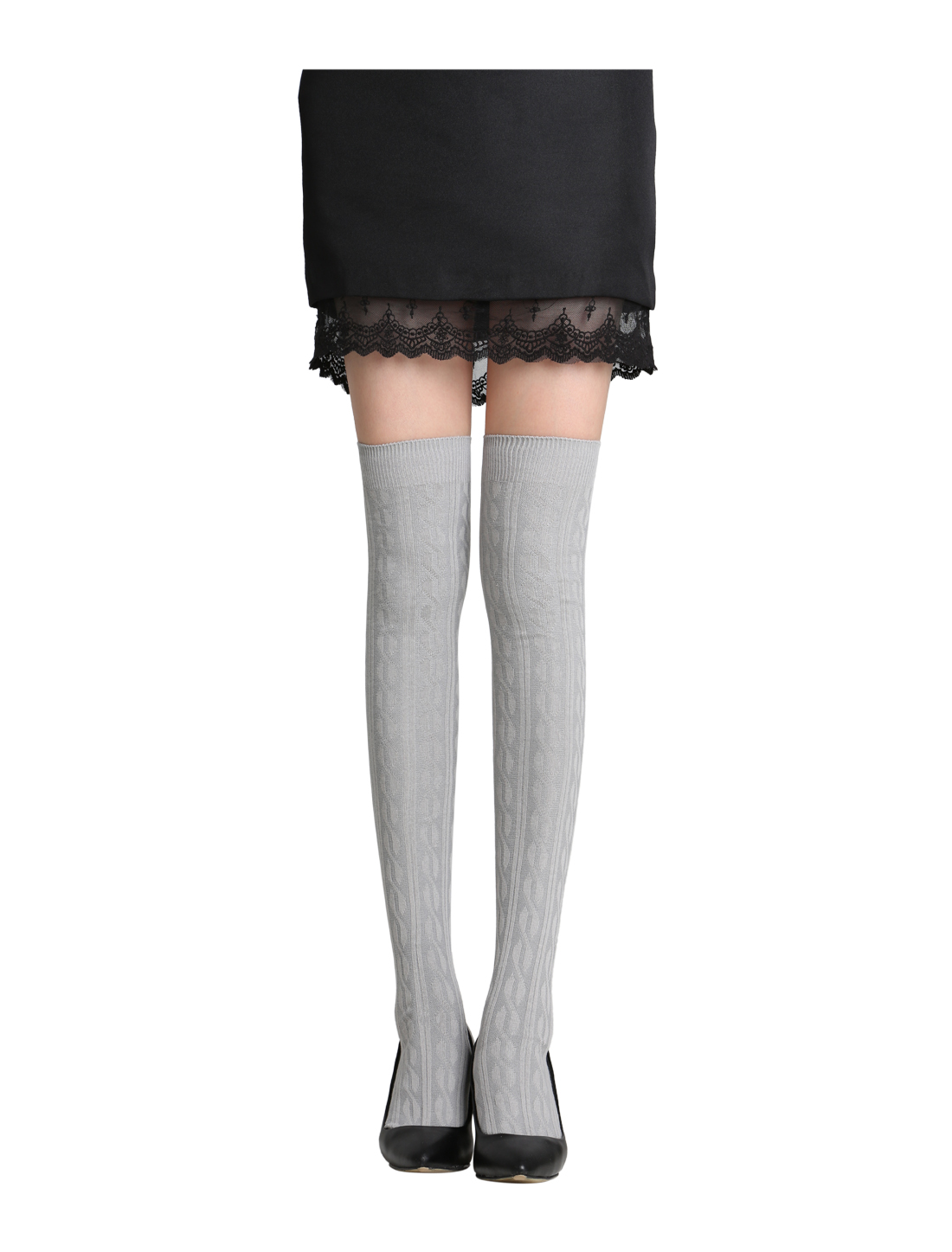 Ladies Over Knee Stretchy Ribs Knitted Stockings Light Gray 9-11