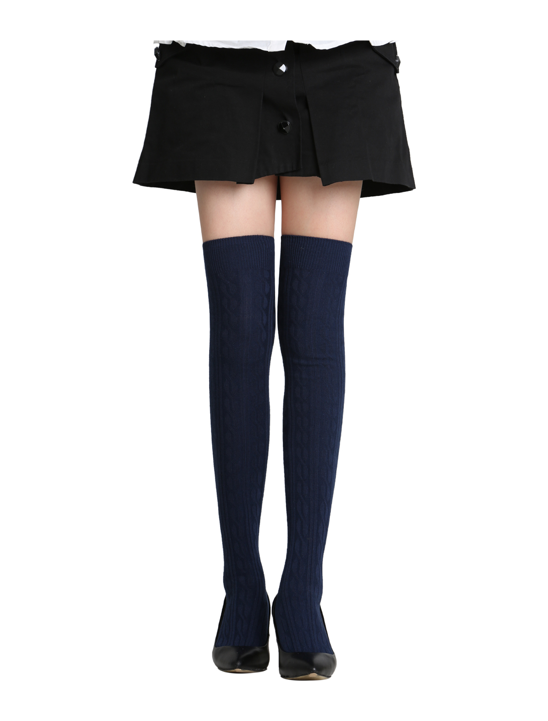 Ladies Over Knee Stretchy Skinny Fit Ribs Knitted Stockings Blue 9-11