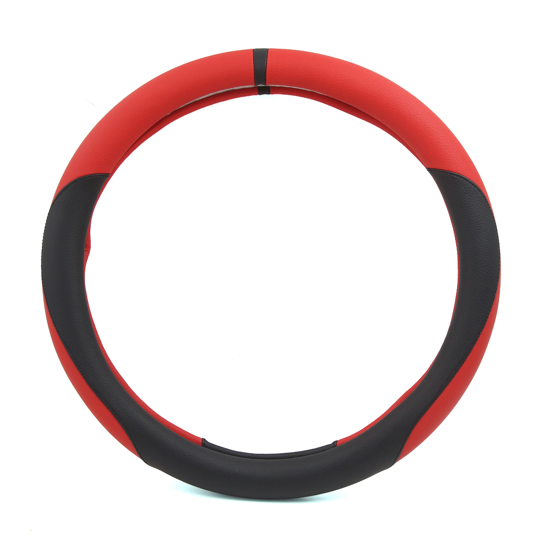 Universal 36cm Outer Dia Faux Leather Car Auto Steering Wheel Cover Black Red