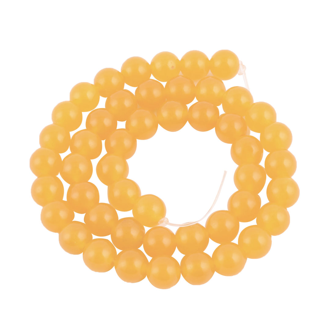 Woman Glass Oval Shape Bead String Decorative Necklace Yellow 8mm Dia