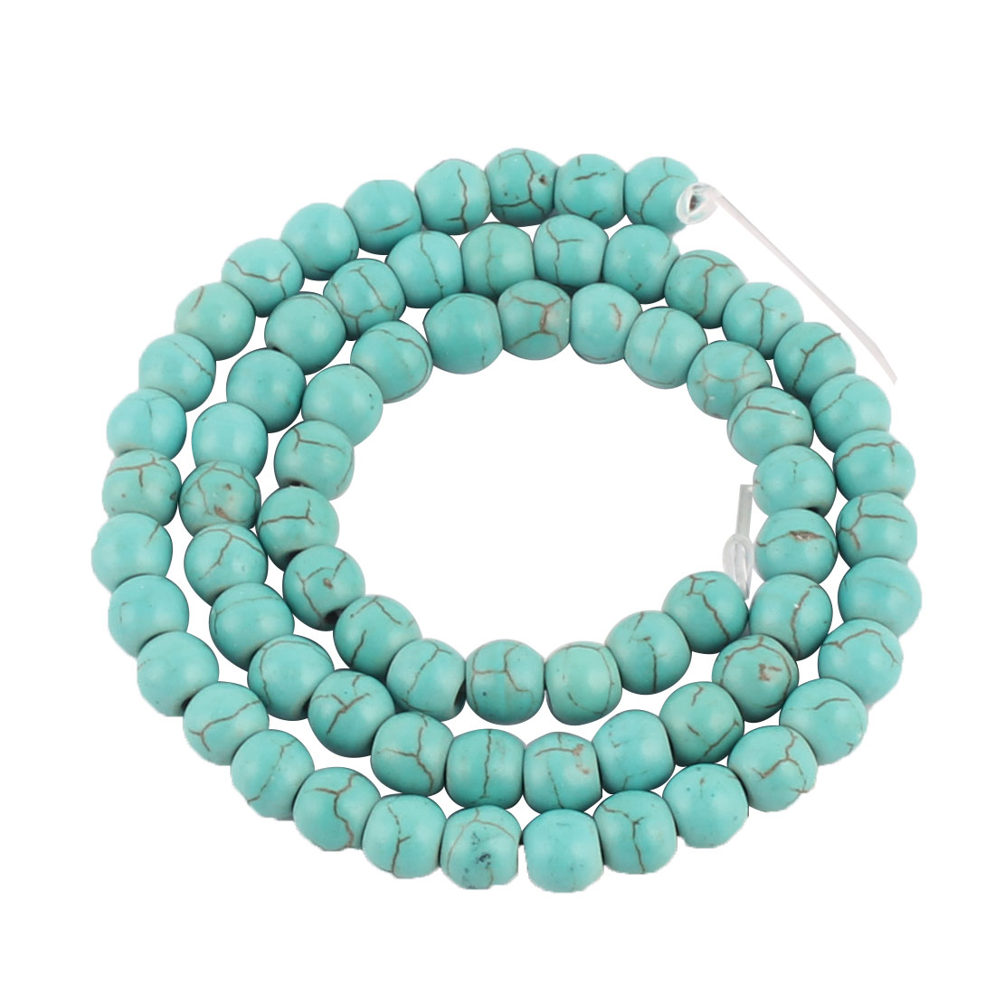Lady Plastic Handcrafted Beads Linked Stretchy Necklace Jewelry Cyan 6mm Dia