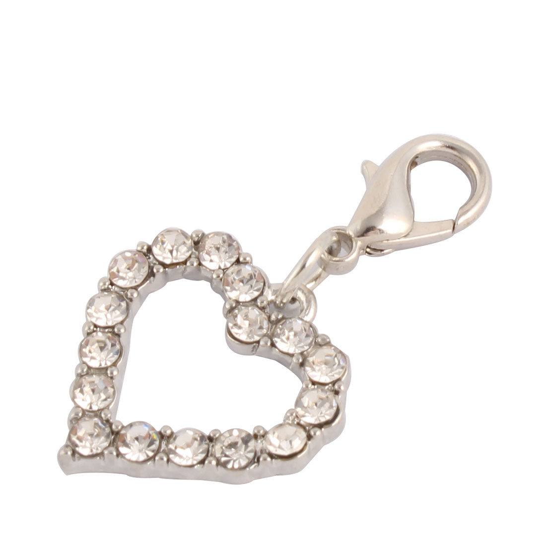 Party Rhinestone Mount Dog Ornament Pet Necklace Clasp Heart Charm Pendent Silver Tone