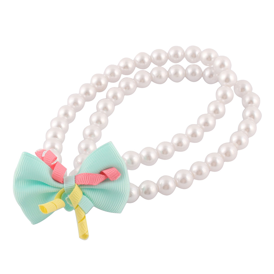 Outdoor Party Dog Plastic Imitation Pearl Linked Bowknot Decor Double Rows Beads Stretchy Pet Necklace White