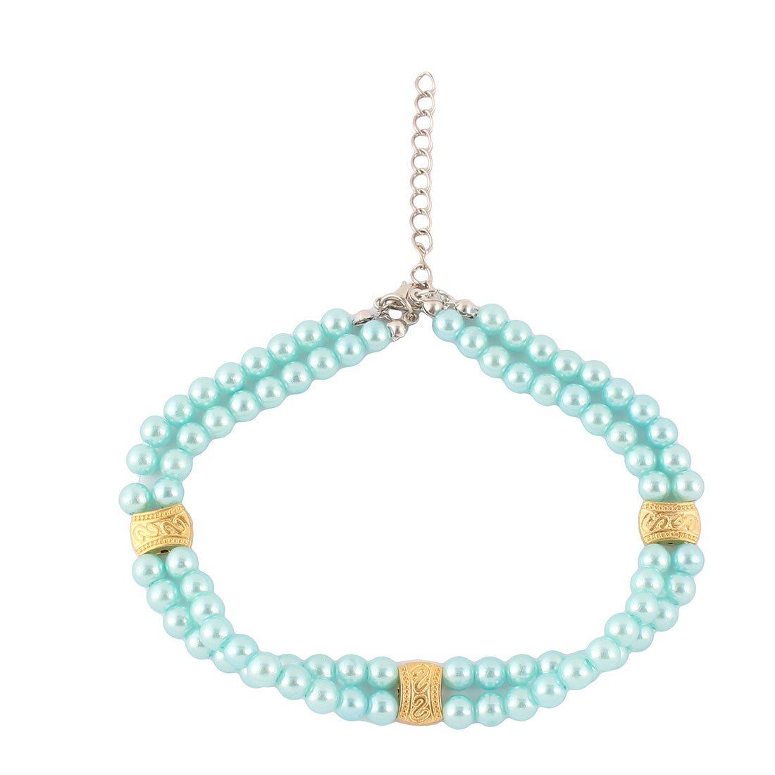 Festival Party Dog Metal Chain Handmade Beads Design Adjustable 2 Rows Pet Necklace Collar Blue