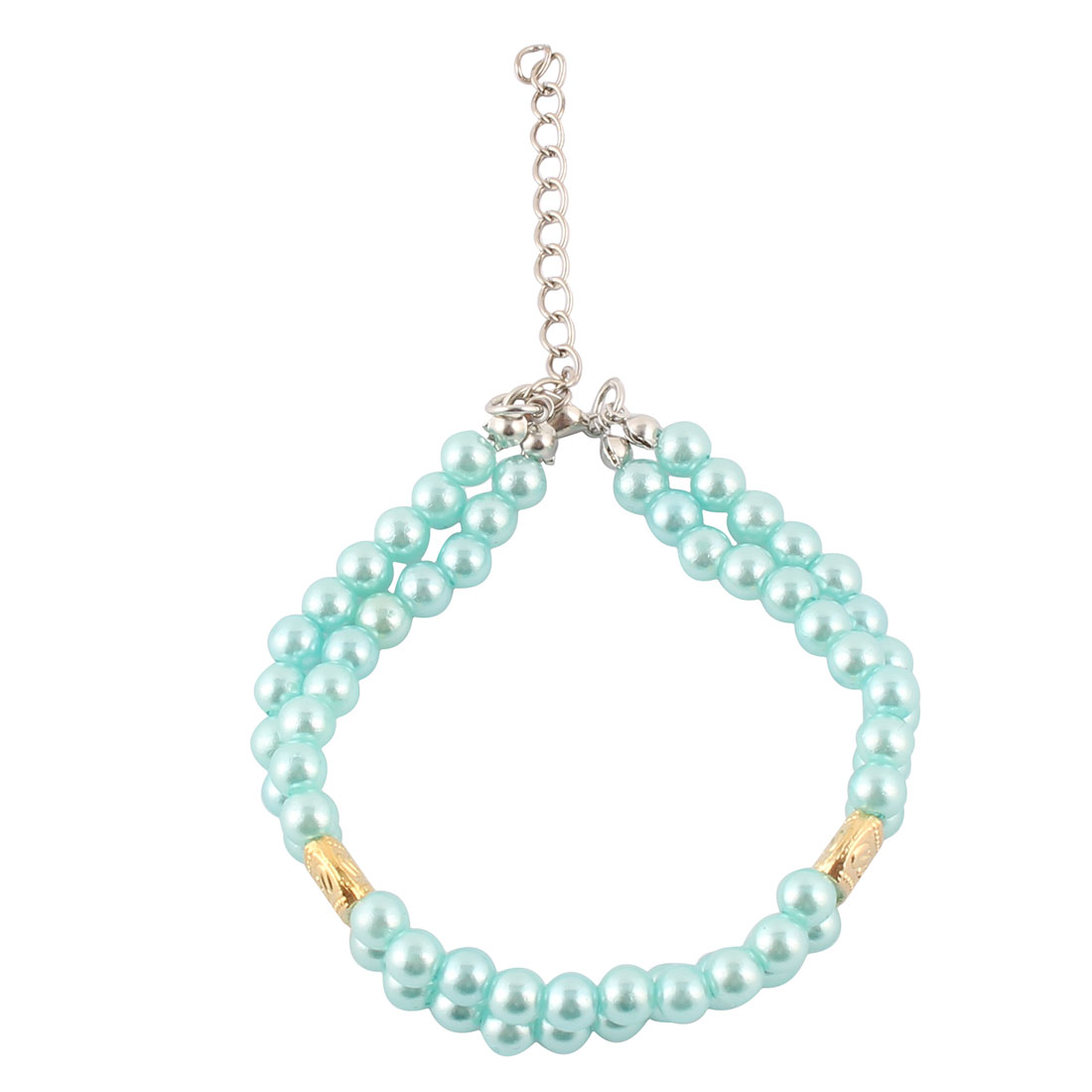 Cat Metal Chain Plastic Round Beads Welt Double Rows Adjustable Dog Collar Pet Necklace Blue