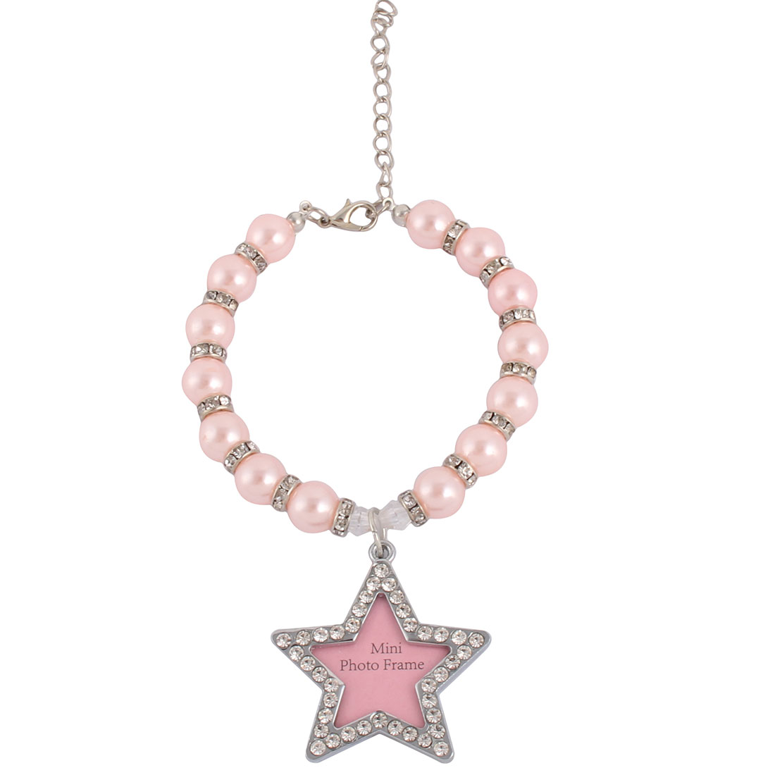 Party Metal Round Bead Linked Star Shaped Photo Frame Design Collar Tag Pet Necklace Pink