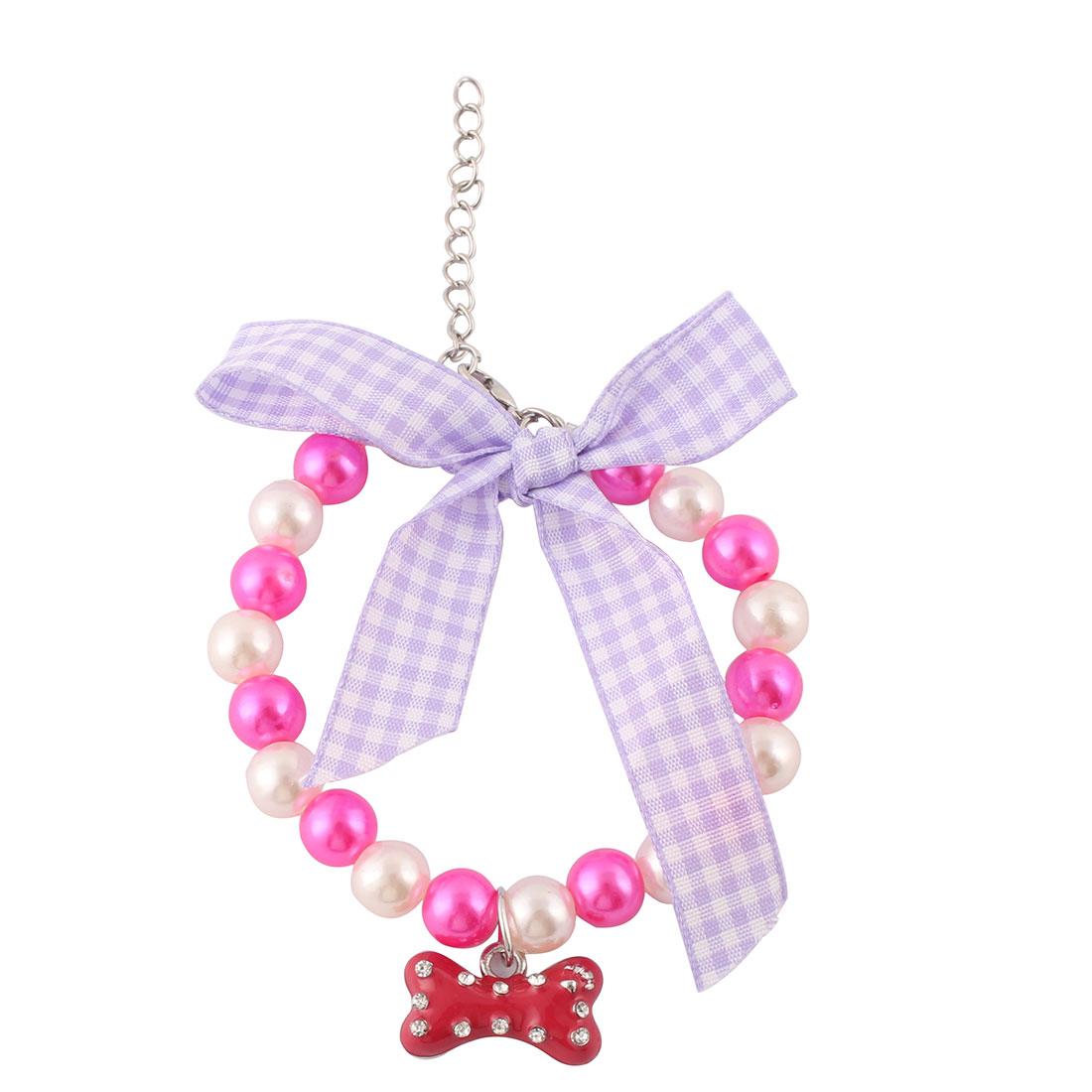 Festival Plastic Bead Bowknot Decor Pet Ornament Pet Necklace Fuchsia 20cm~25cm Girth