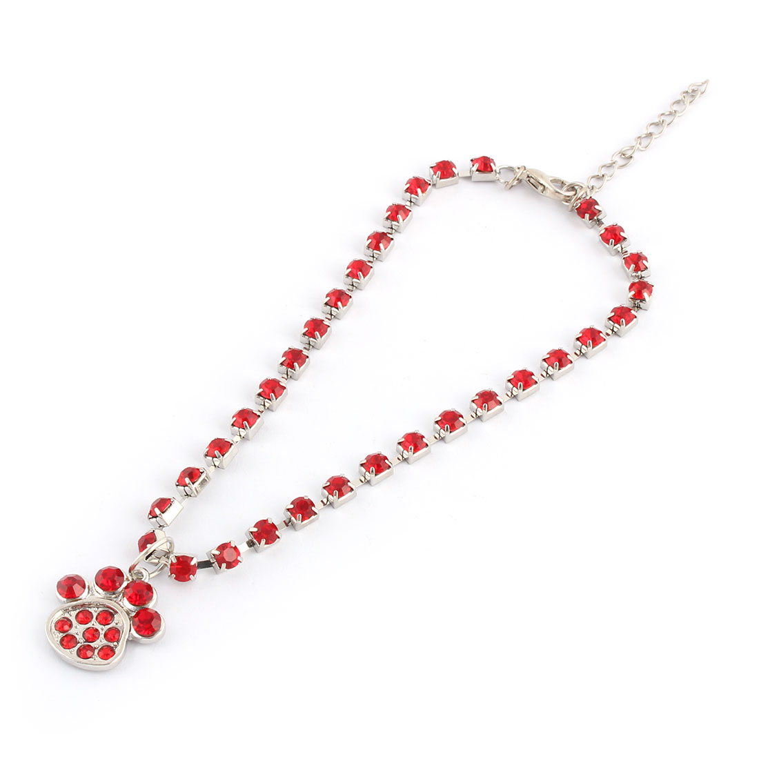 Christmas Party Rhinestone Mosaic Metal Paw Pendent Design Adjustable Pet Necklace Red