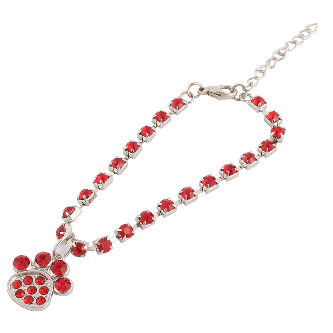 Outdoor Cat Rhinestone Laid Metal Paw Pendent Decoration Pet Necklace Bracelet Red