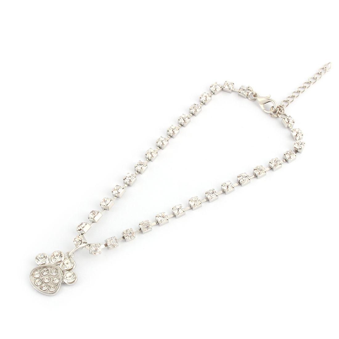 Metal Bling Rhinestone Paw Pendent Welt Pet Necklace Bracelet Silver Tone