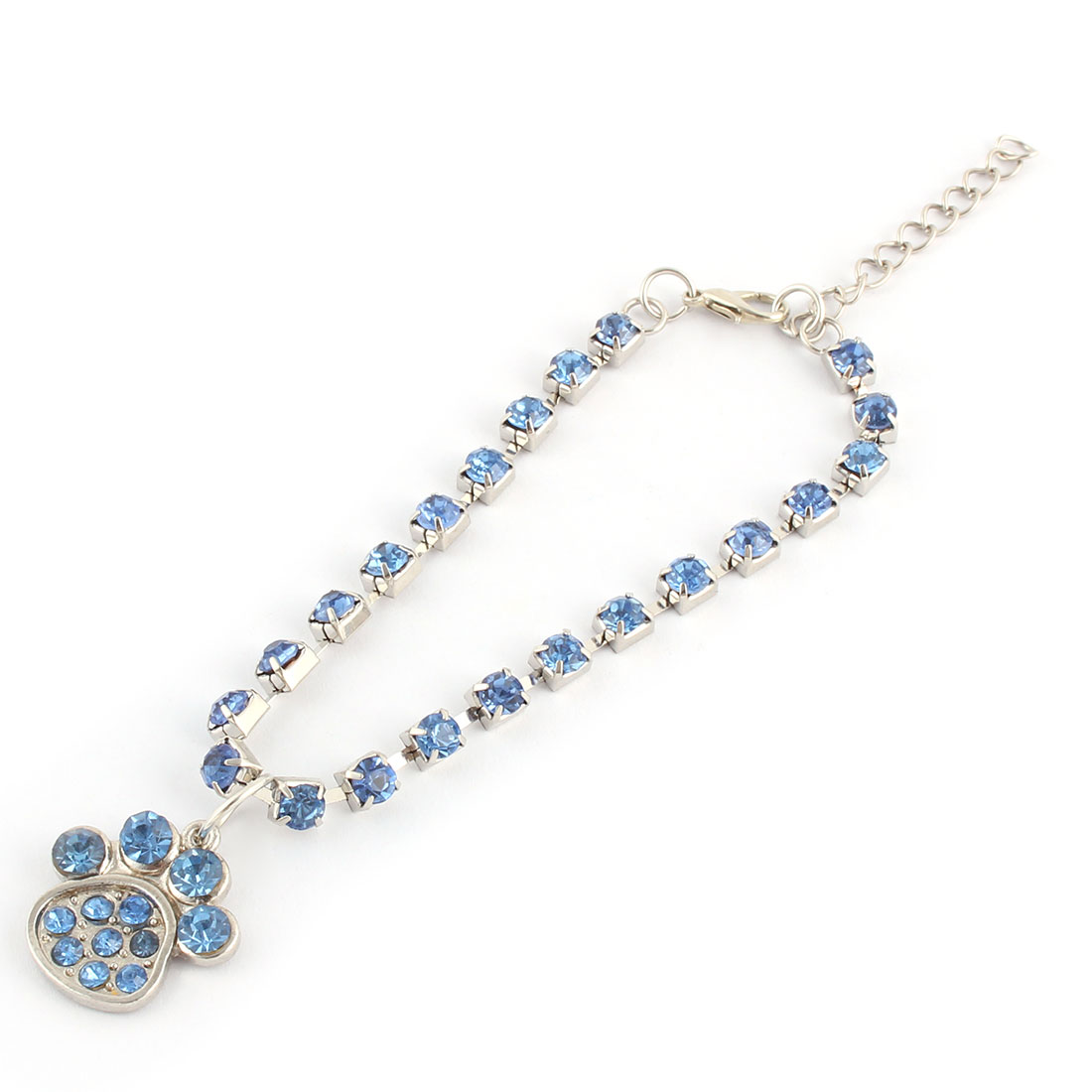 Wedding Pet Rhinestone Mosaic Metal Paw Pendent Decor Pet Necklace Bracelet Blue