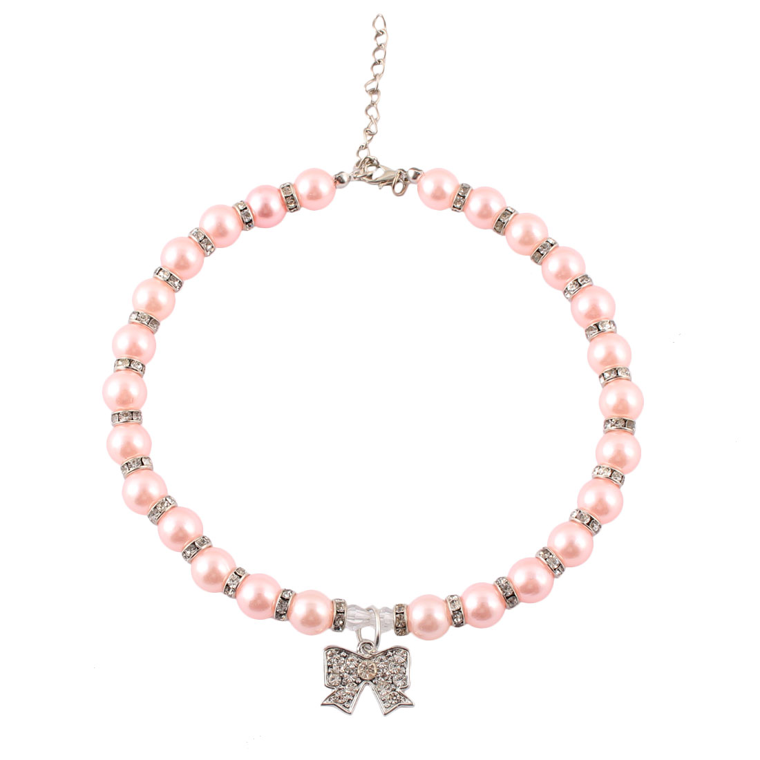 Puppy Metal Sparkle Rhinestone Round Beads Bowknot Pendent Adjustable Pet Necklace Light Pink