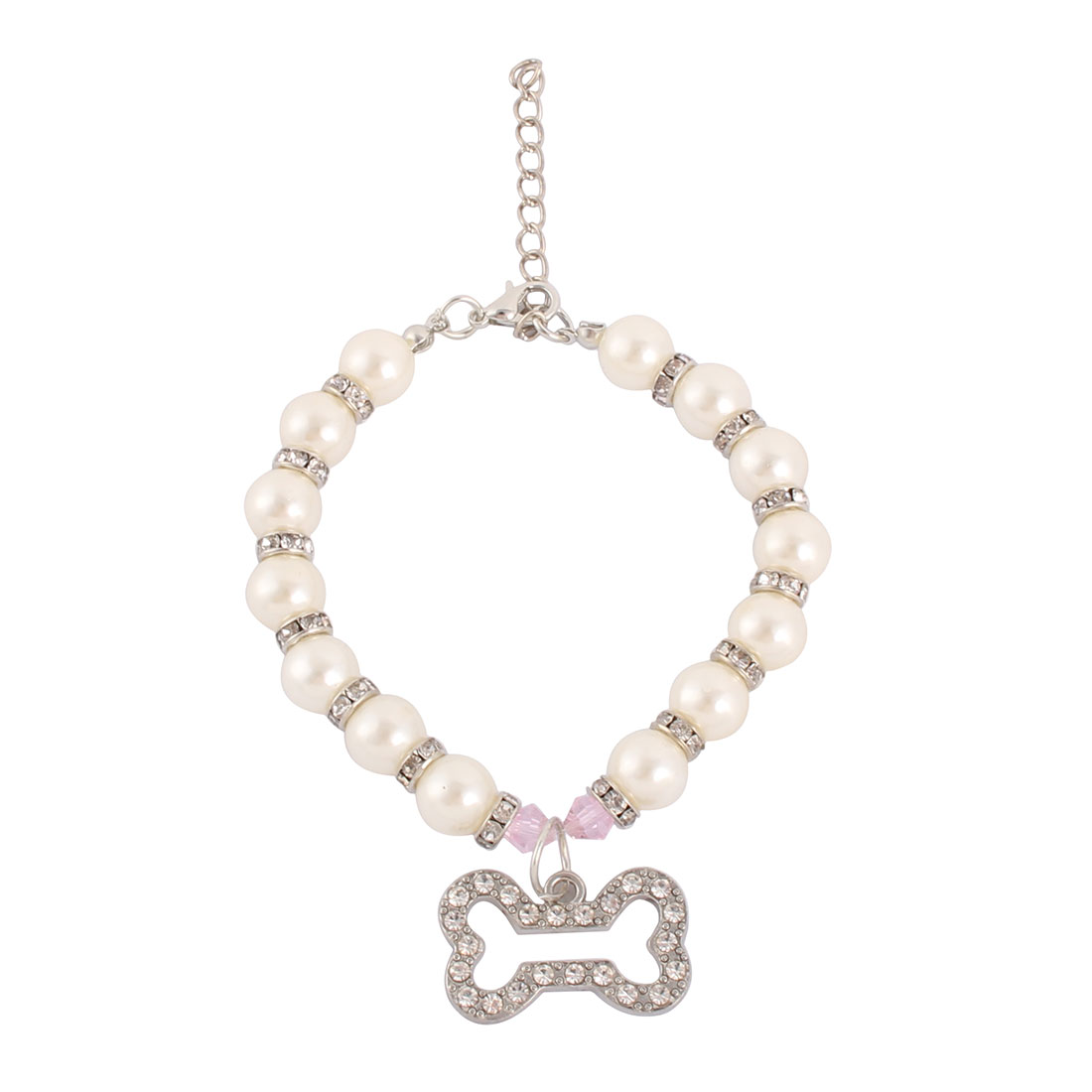 Puppy Metal Round Beads Bone Pendent Adjustable Clasp Pet Necklace Collar White