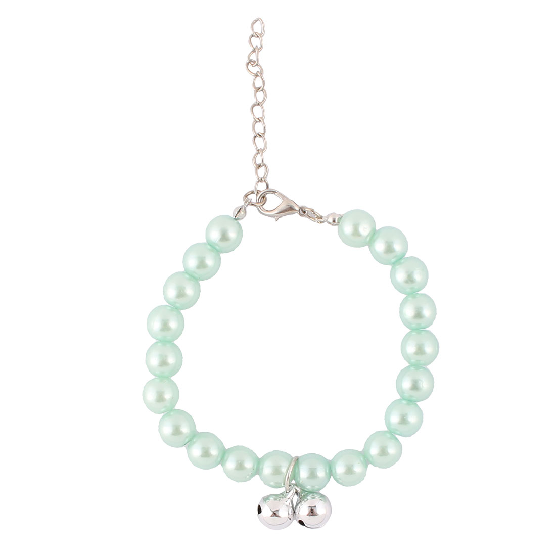 Cat Plastic Pearl Linked Round Beads Adjustable Chain Bells Decor Pet Necklace Light Blue