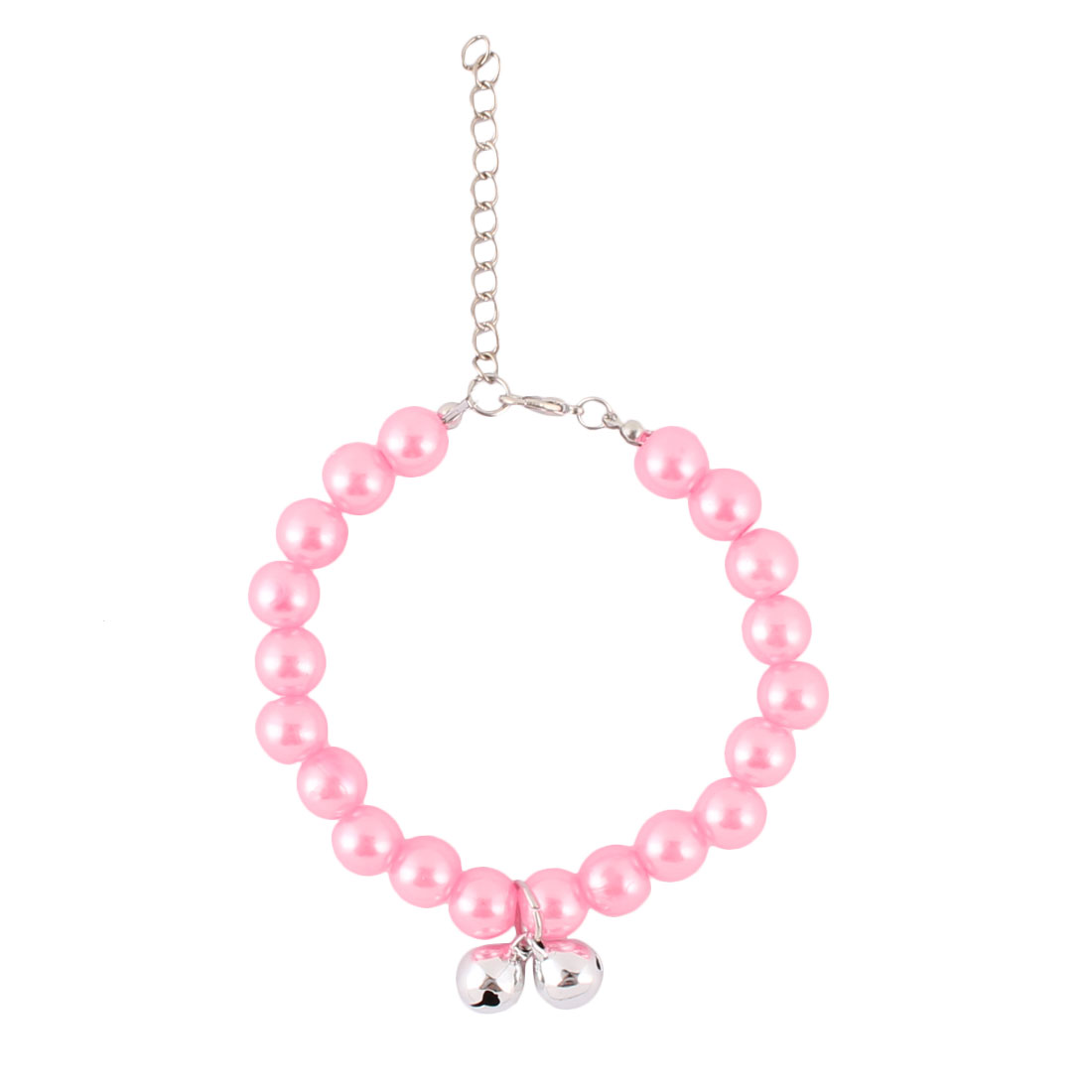 Outdoor Plastic Imitation Pearl Linked Round Beads Adjustable Clasp Bells Decor Pet Necklace Pink