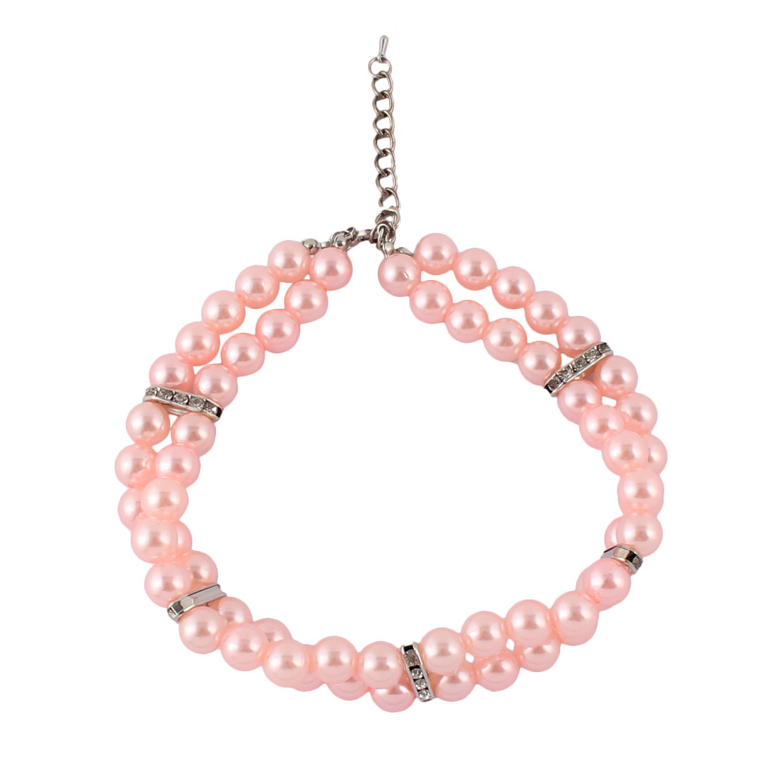 Holiday Cat Plastic Beads Shining Rhinestones Clasp 2 Rows Pet Necklace Light Pink 32-37cm Girth