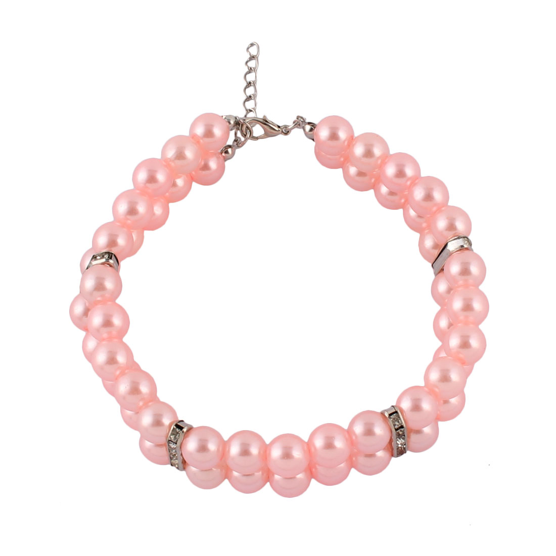 Wedding Dog Plastic Imitation Pearls Bling Rhinestones Clasp 2 Rows Pet Necklace Light Pink 27-32cm Girth