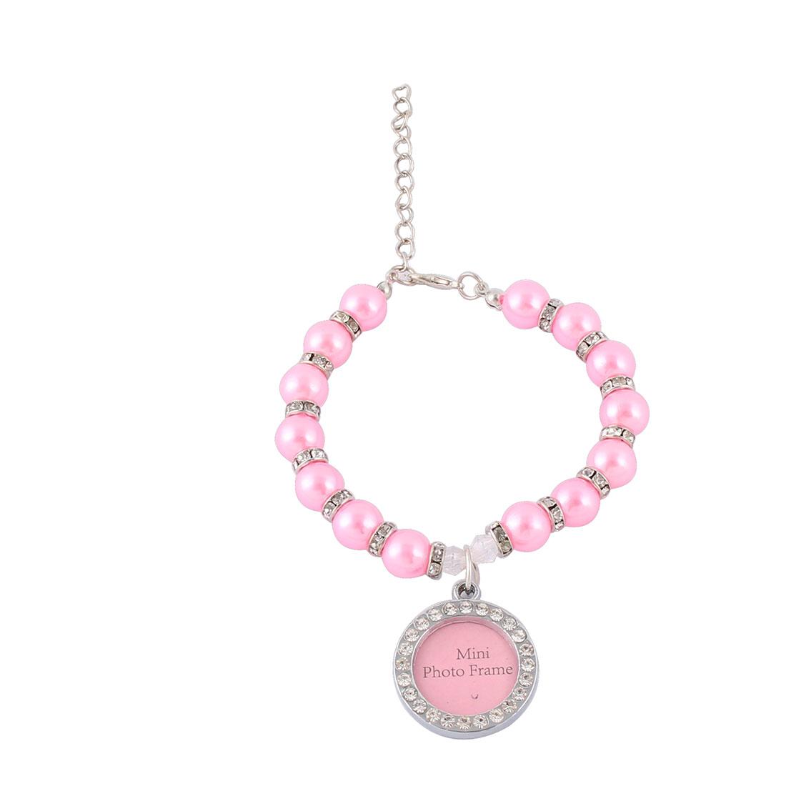 Cat Plastic Imitation Pearl Shining Rhinestone Photo Frame Pendant Tag Pet Necklace Collar Dark Pink