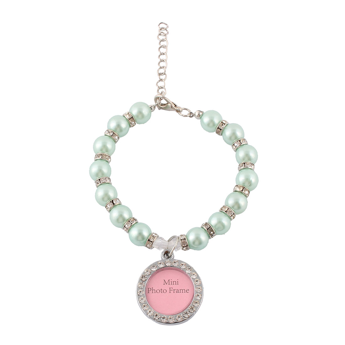 Festival Dog Cat Imitation Pearl Bling Rhinestone Round Photo Frame Pendant Pet Necklace Blue