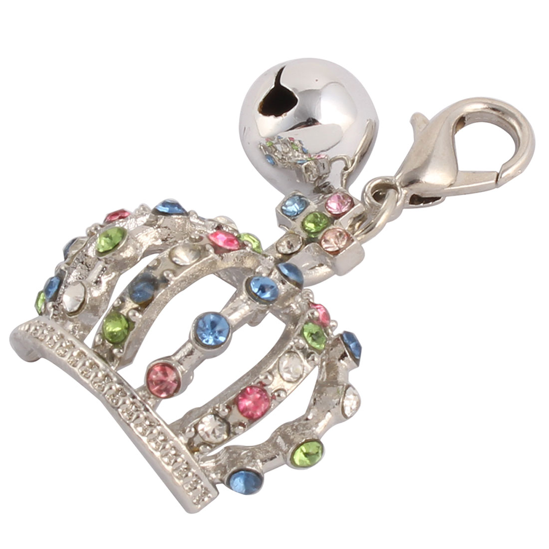Pet Rhinestone Mosaic Dog Ornament Bell Decor Clasp Crown Charm Pendent Silver Tone