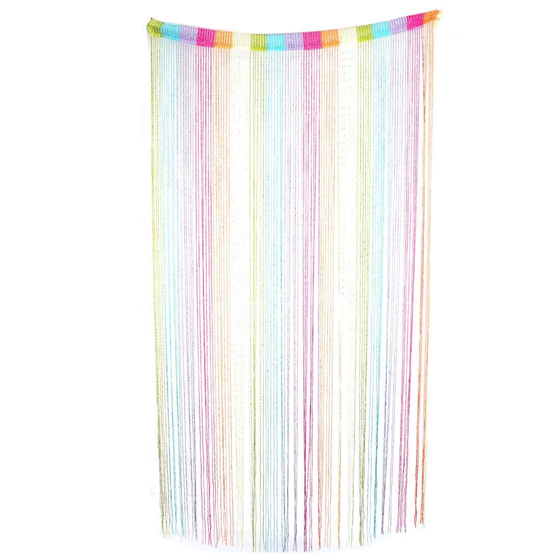 Home Polyester Ribbon Tassel Screen Hanging Divider Decor String Curtain Multicolor