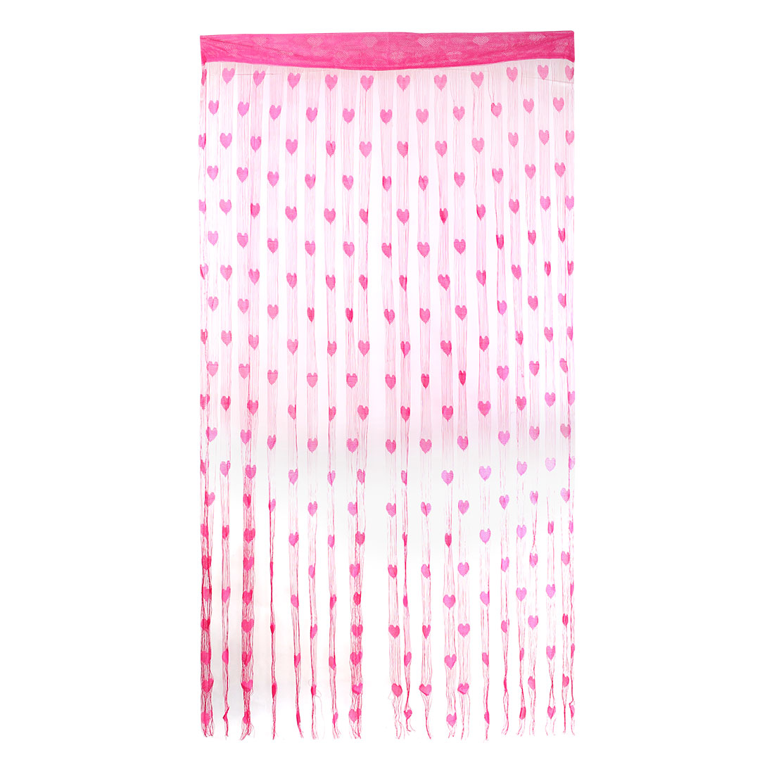 Door Window Heart Pattern Tassel Panel Divider Decoration String Curtain Fuchsia