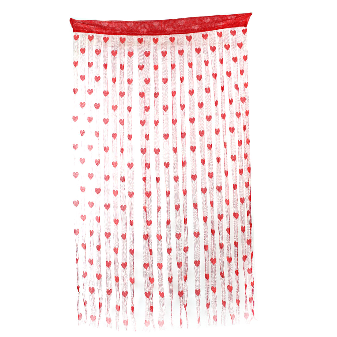 Household Door Window Heart Pattern Tassel Panel Divider Decoration String Curtain Red