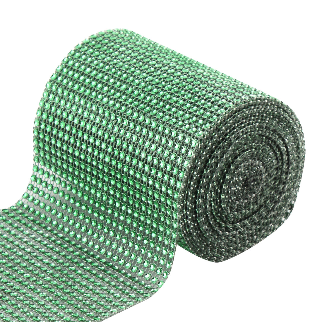 Household Plastic Cake Glass Table Decor Rhinestone Mesh Diamond Ribbon Green 5 Yard