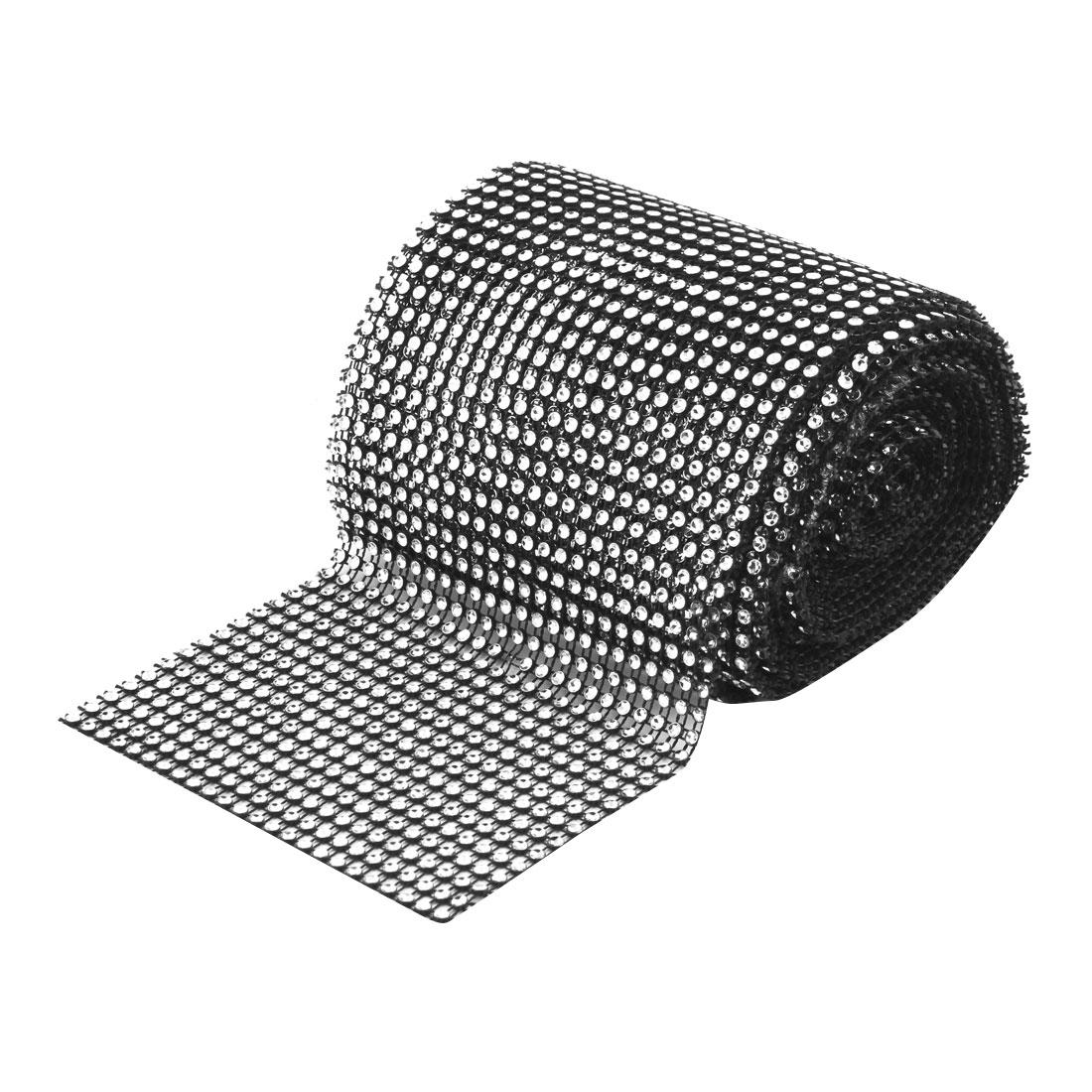 Household Plastic Cake Glass Table Decor Mesh Diamond Ribbon Black and Silver Tone 5 Yard