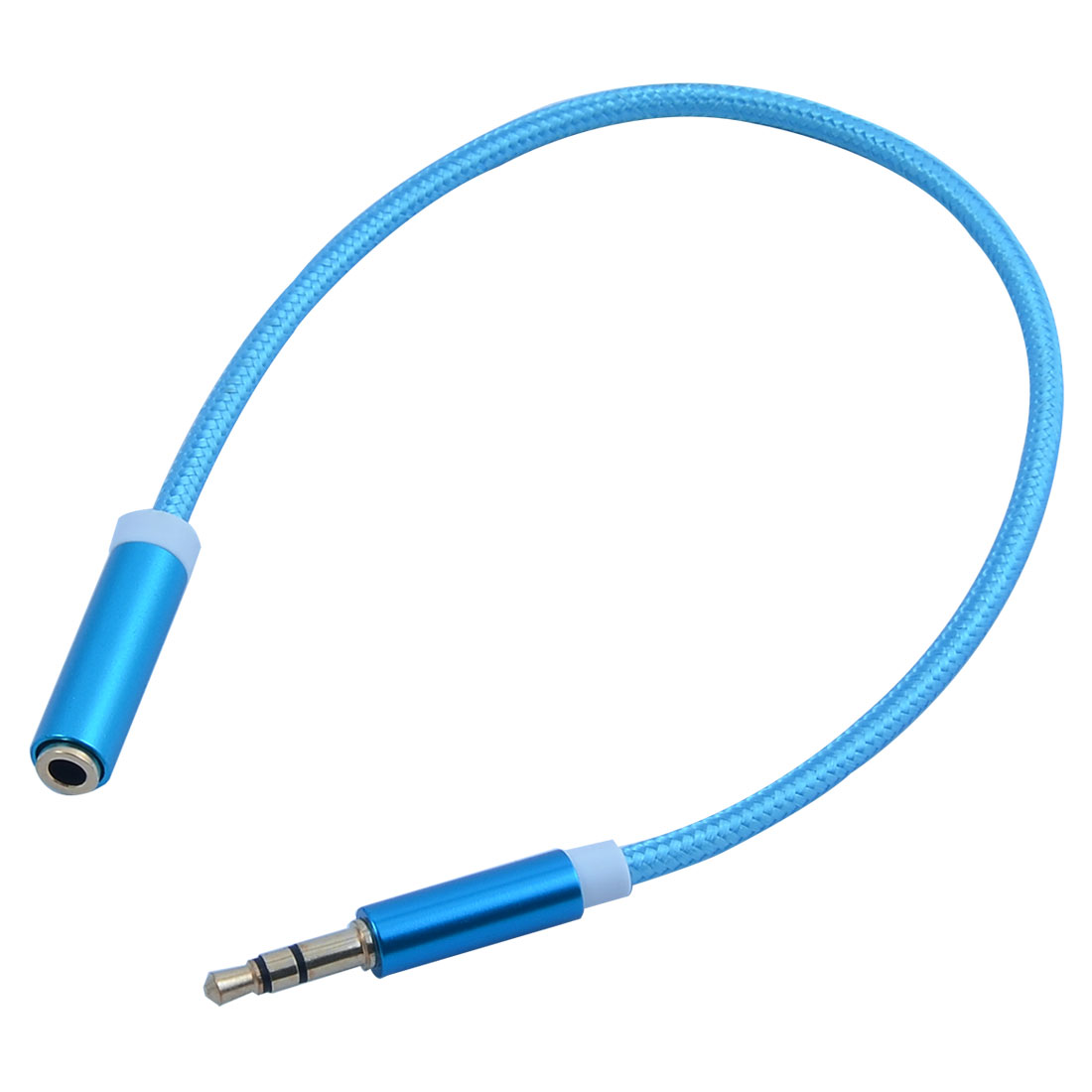 Universal 3.5mm Male to Female Nylon Audio Extension Cable Blue 250mm Long for Smartphone