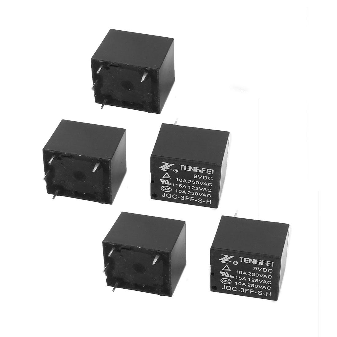10Pcs DC9V 10A 0.36W 4 Terminal SPST NO Mini Power Coil Electromagnetic Relay