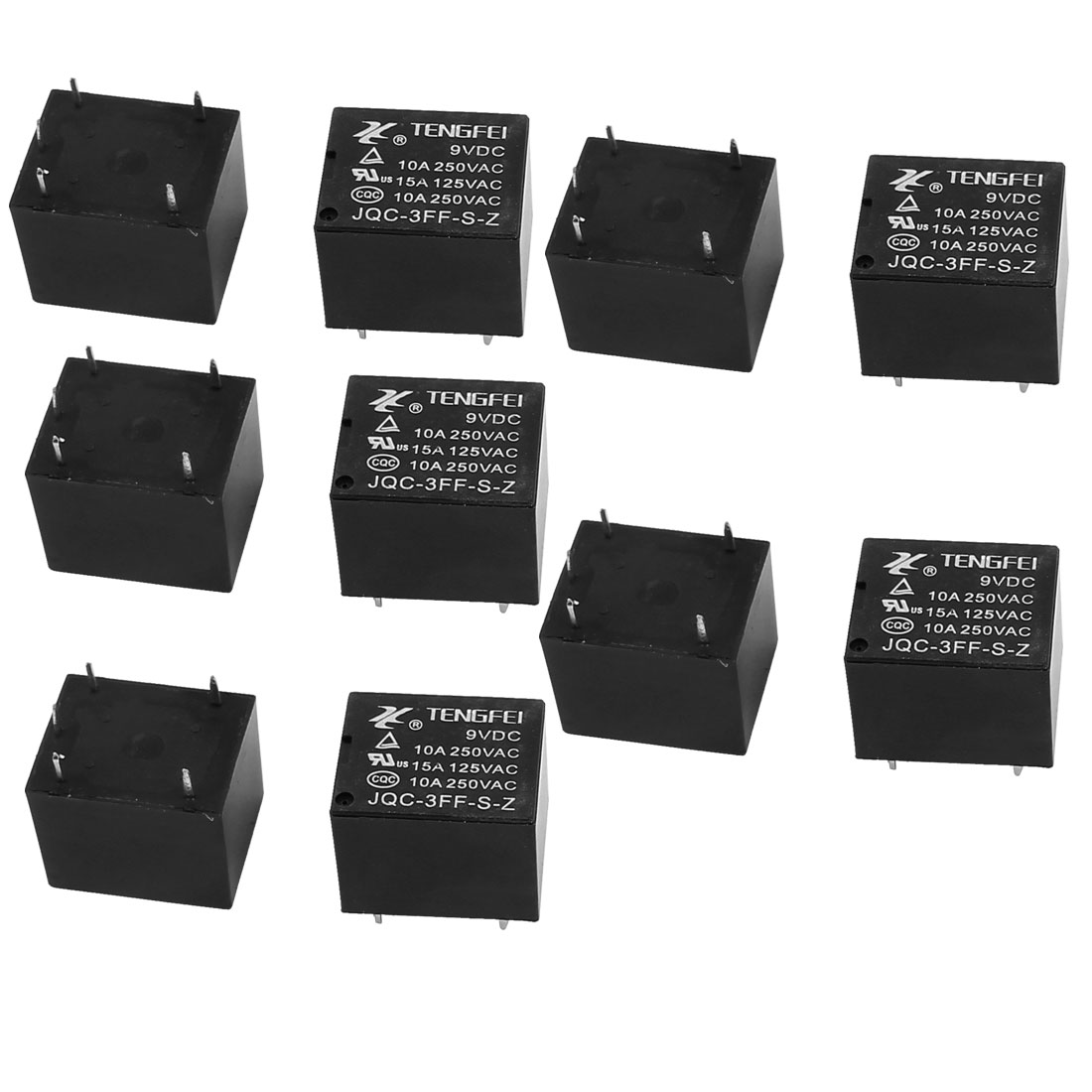 10Pcs JQC-3FF-S-Z DC9V 10A 0.36W 4 Terminal SPST NO Mini Changeover Power Relay