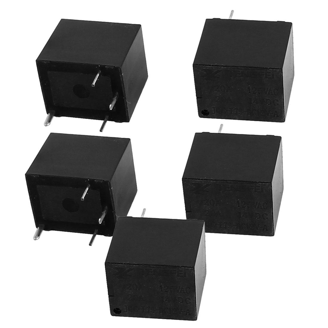 5Pcs DC12V 20A 0.6W 4 Terminal SPST NO Mini Power Coil Electromagnetic Relay