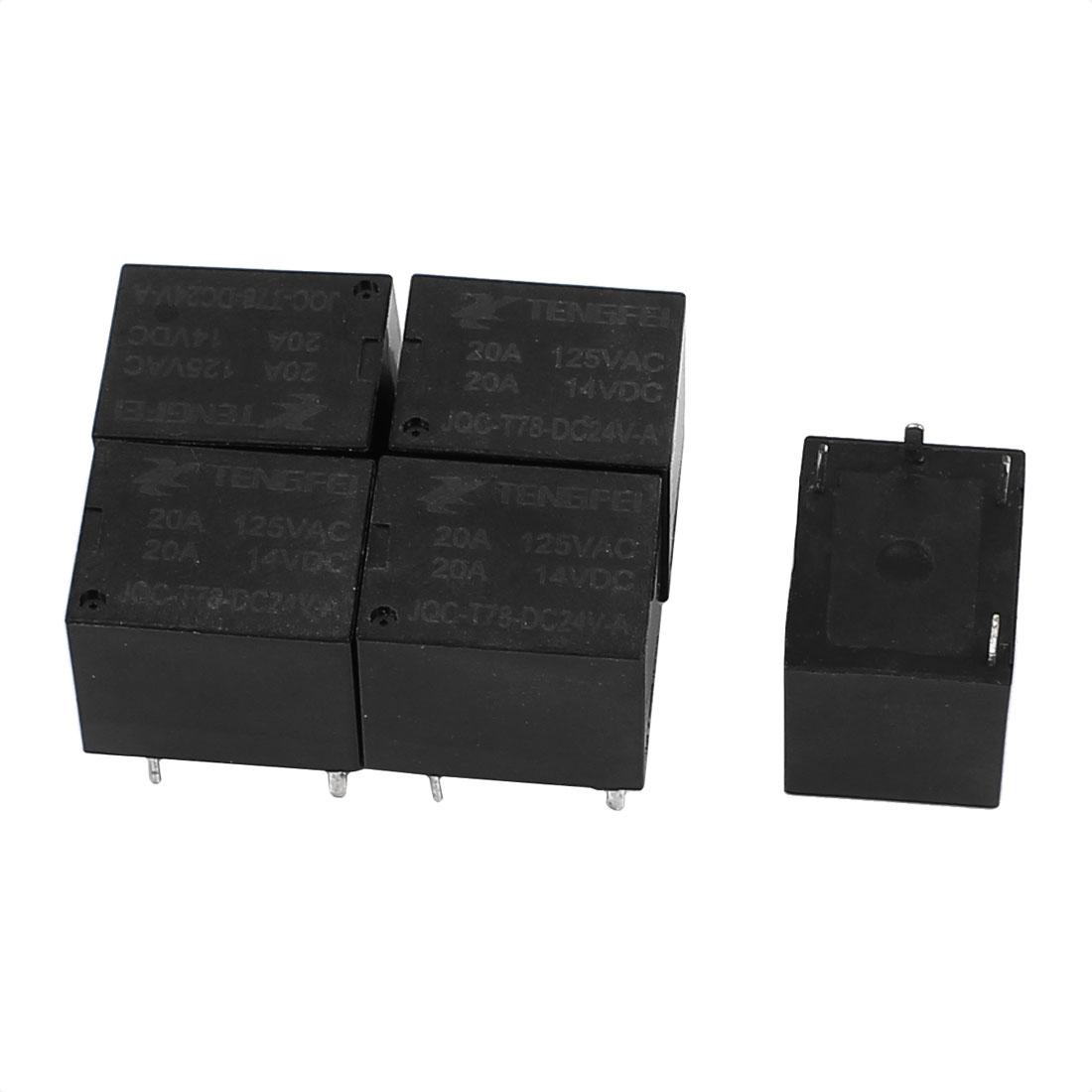 5Pcs DC24V 20A 0.6W 4 Terminal SPST NO Mini Power Coil Electromagnetic Relay