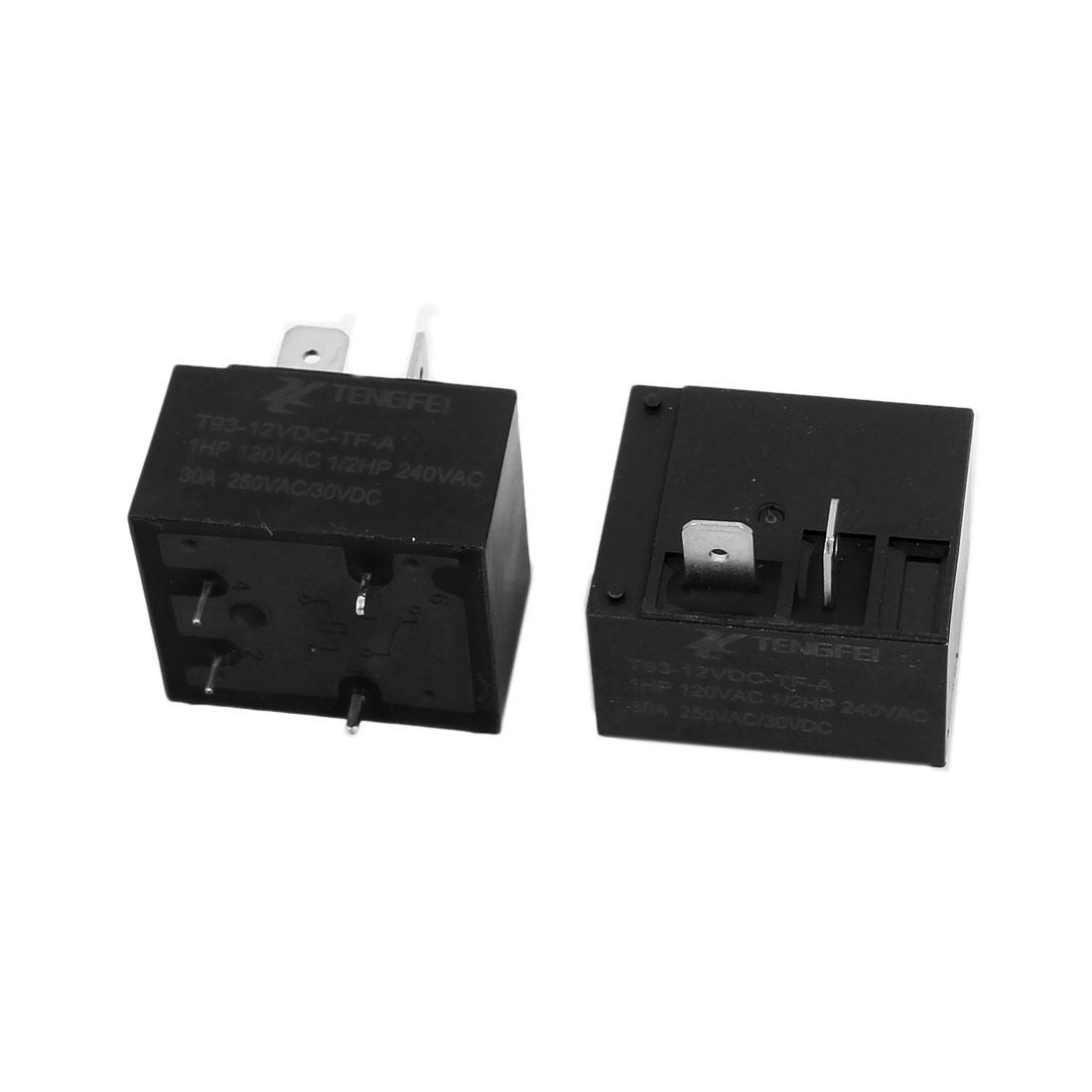 2Pcs T93 DC12V 15A 4 Terminal SPST NO Miniature Power Coil Electromagnetic Relay