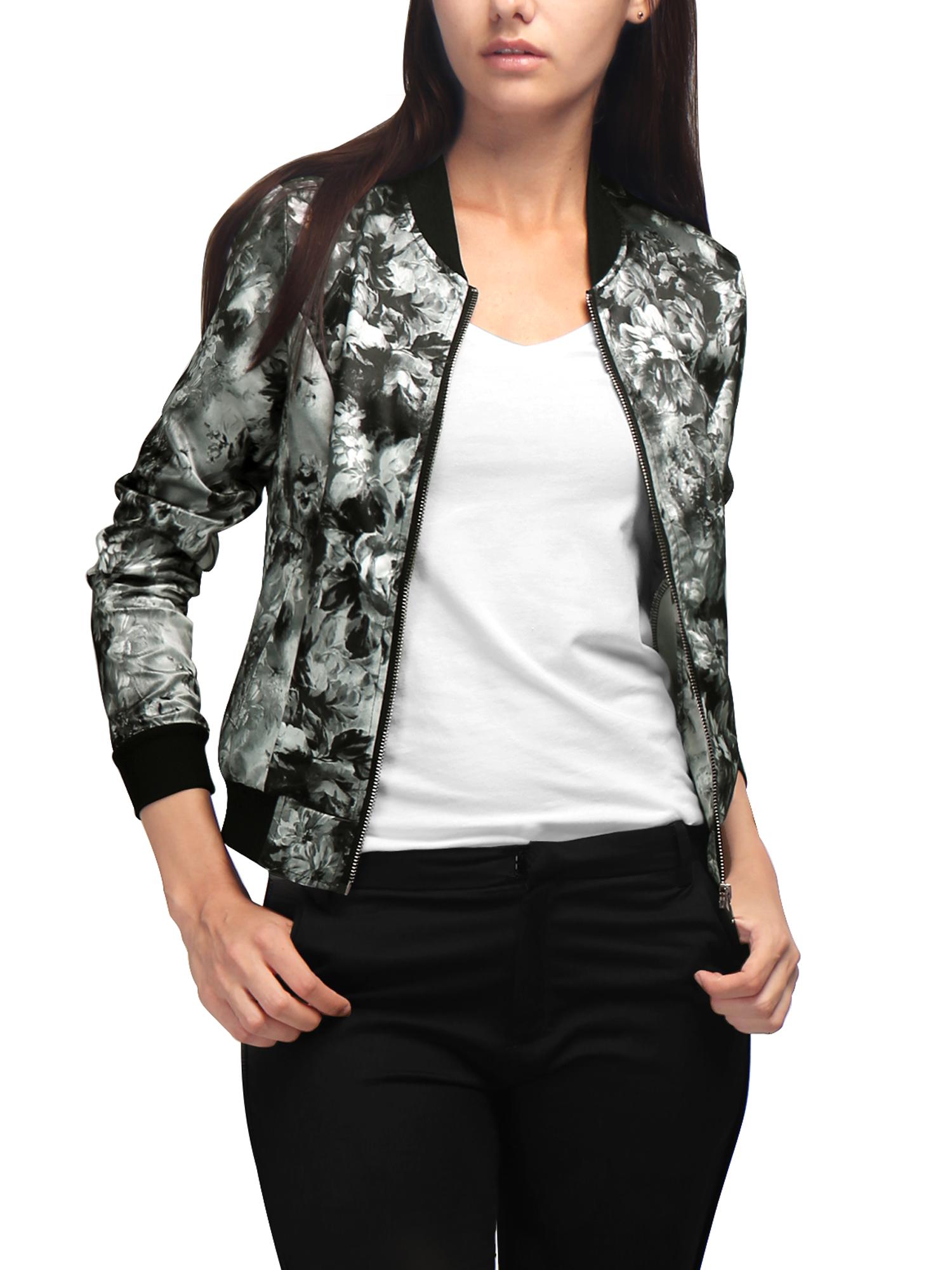 Allegra K Women Long Sleeves Stand Collar Zip Up Floral Bomber Jacket Gray XL