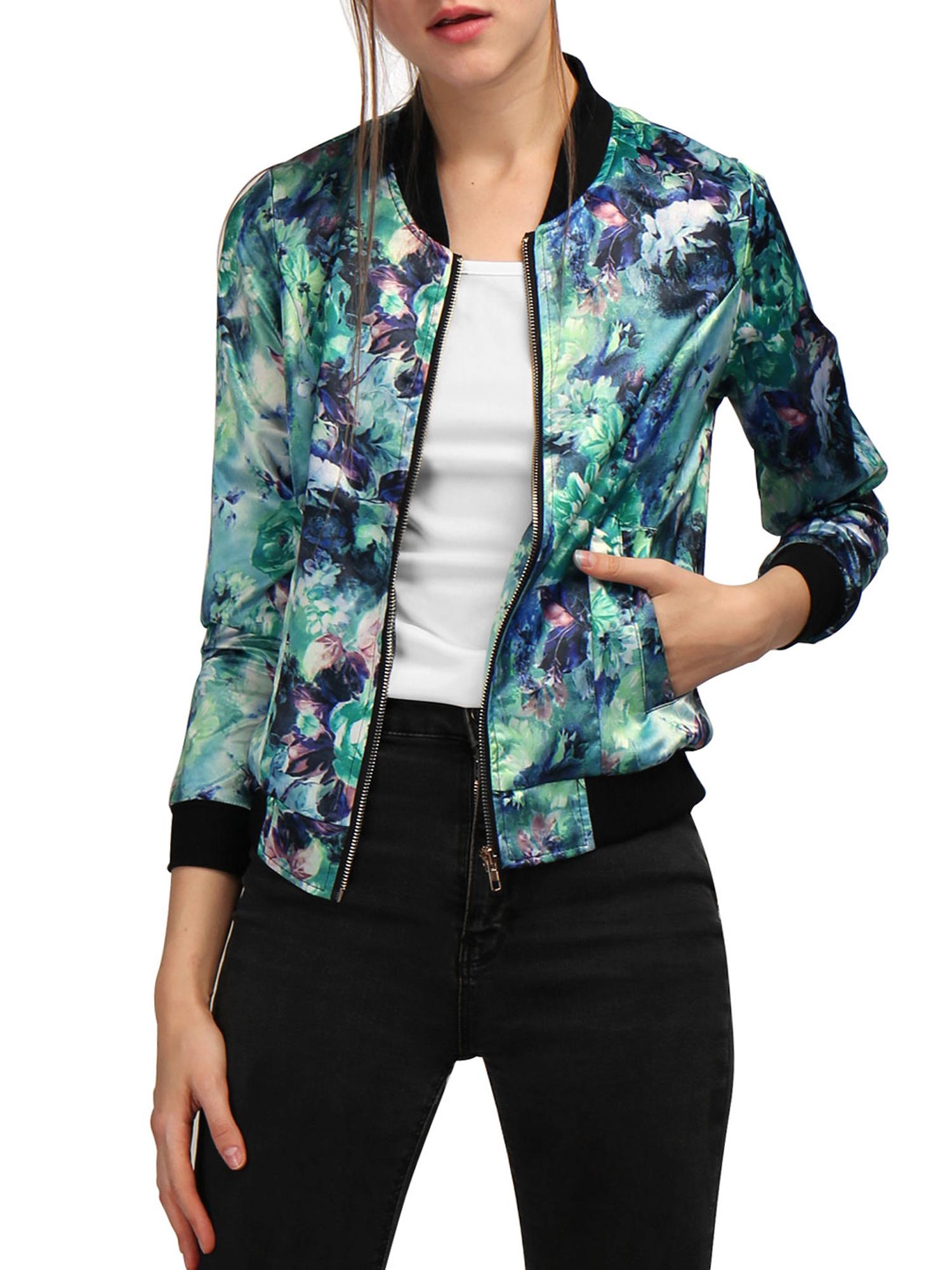Allegra K Women Long Sleeves Stand Collar Zip Up Floral Bomber Jacket Green L