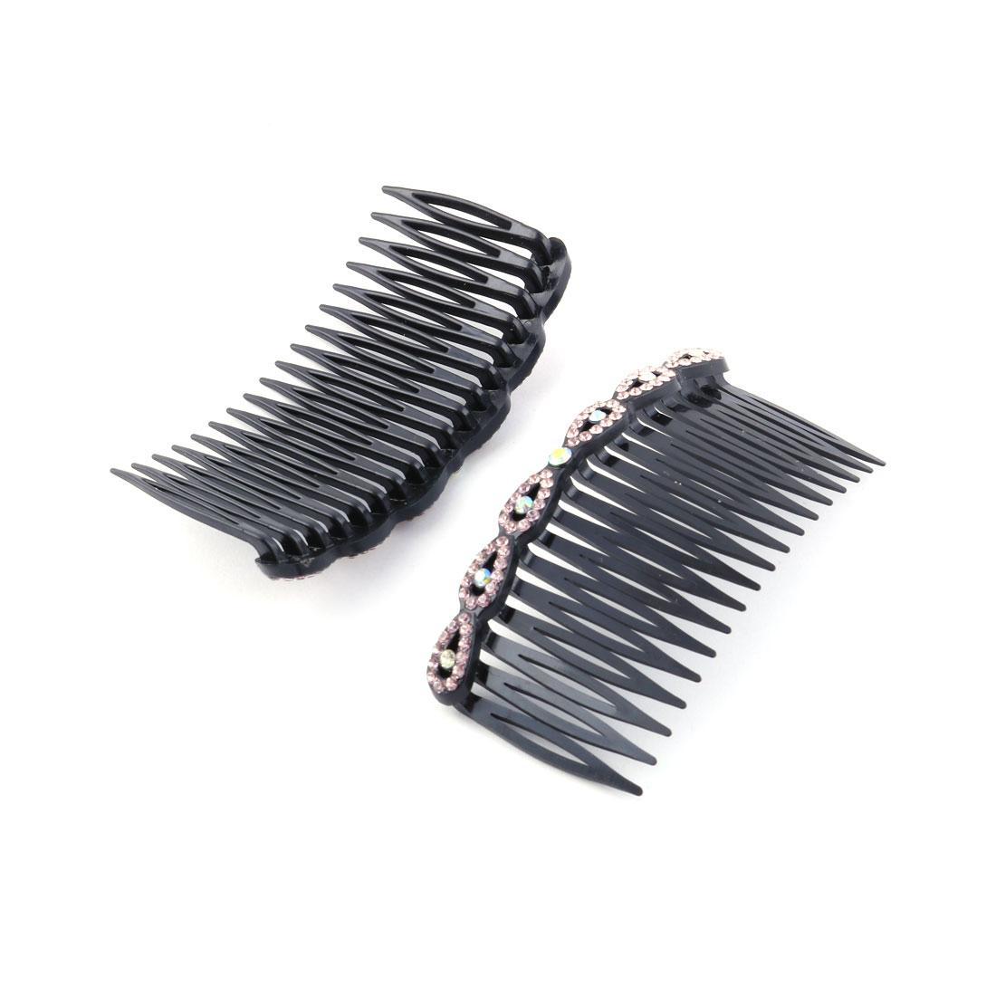 Women Plastic Rhinestone Decor Hair Comb Clip Slide Hairpin Light Purple 2 Pcs