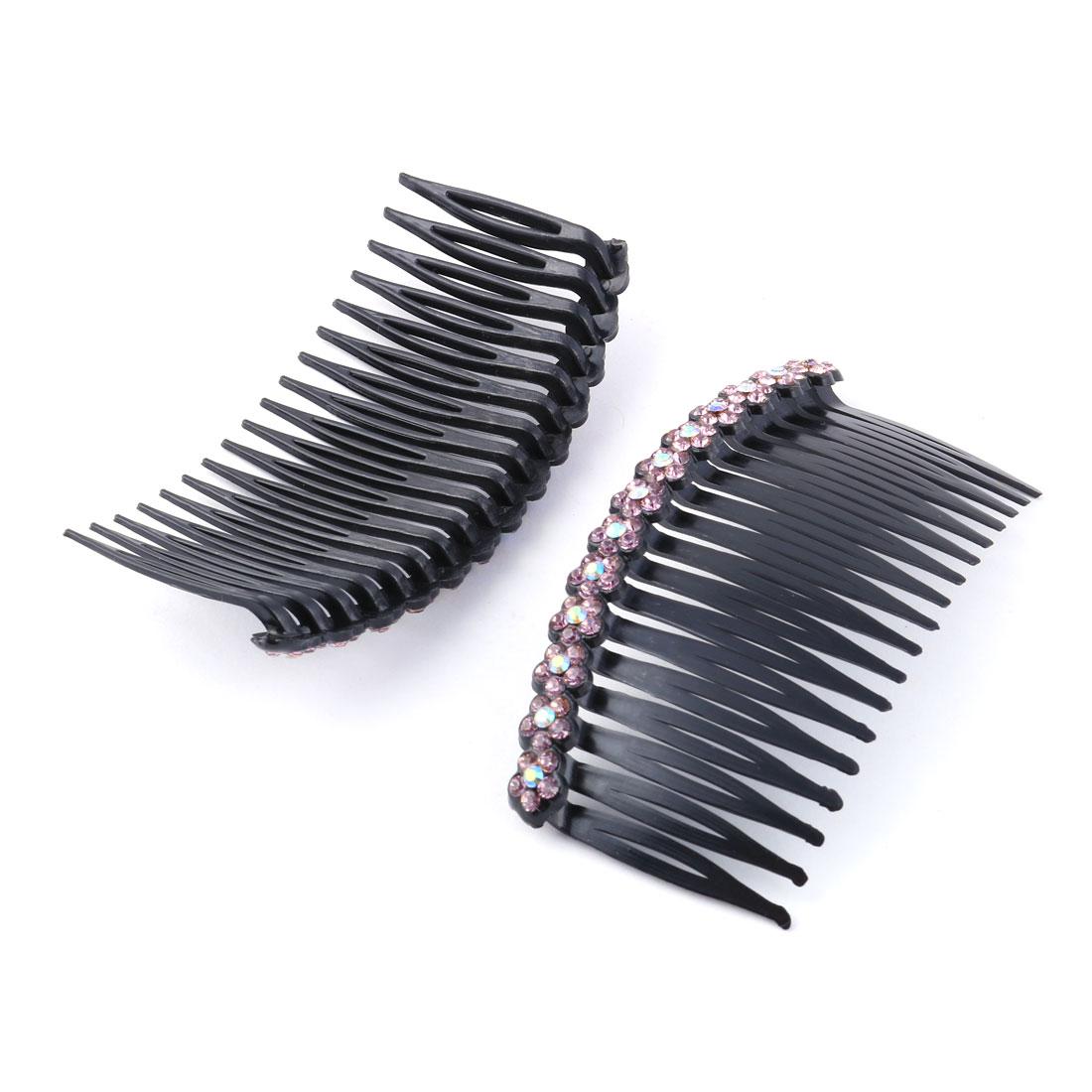Women Plastic Flower Rhinestone Decor Hair Comb Clip Slide Light Purple 2pcs