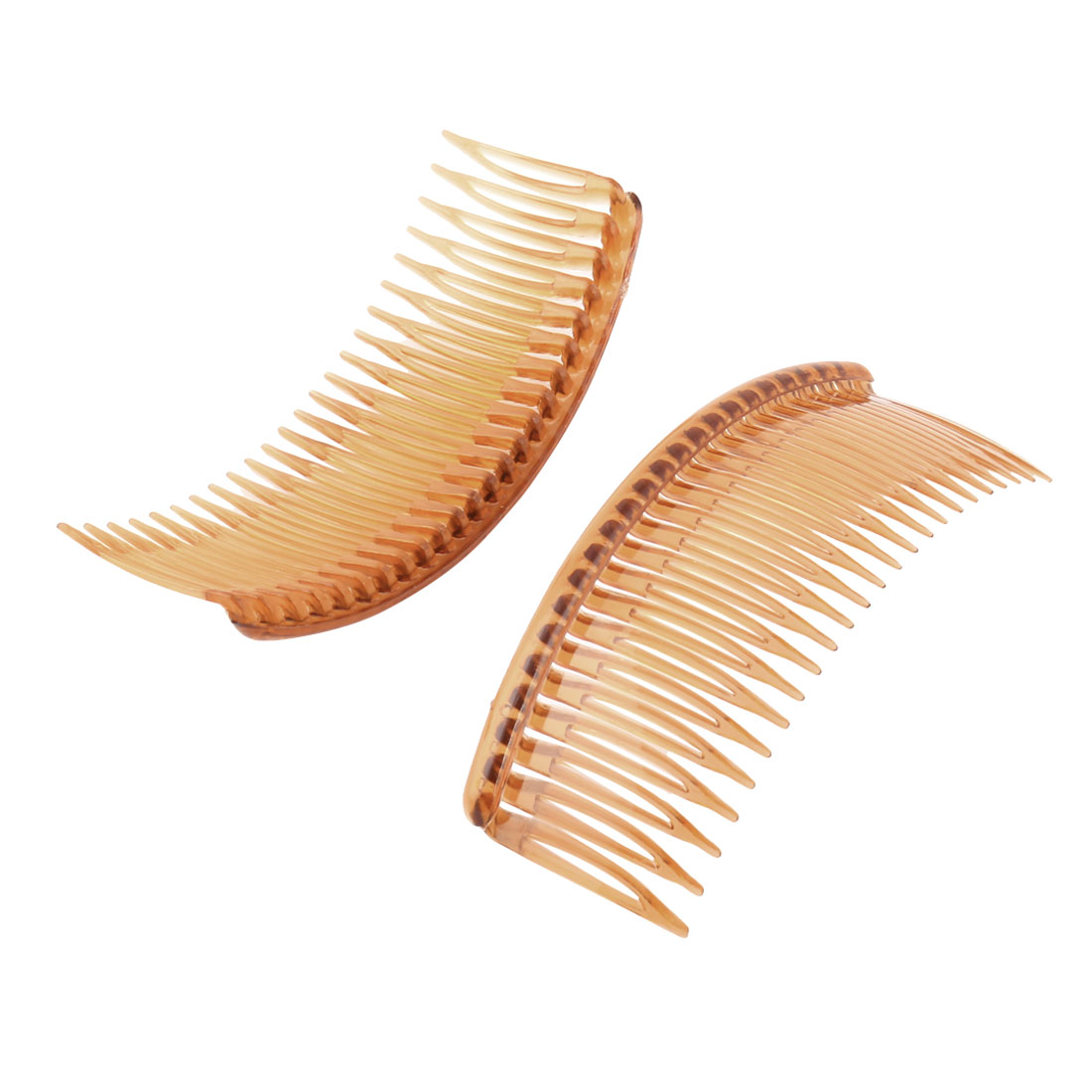 Women Lady Plastic 24 Teeth Fancy DIY Hair Comb Clip Slide Hairpin Brown 2 Pcs
