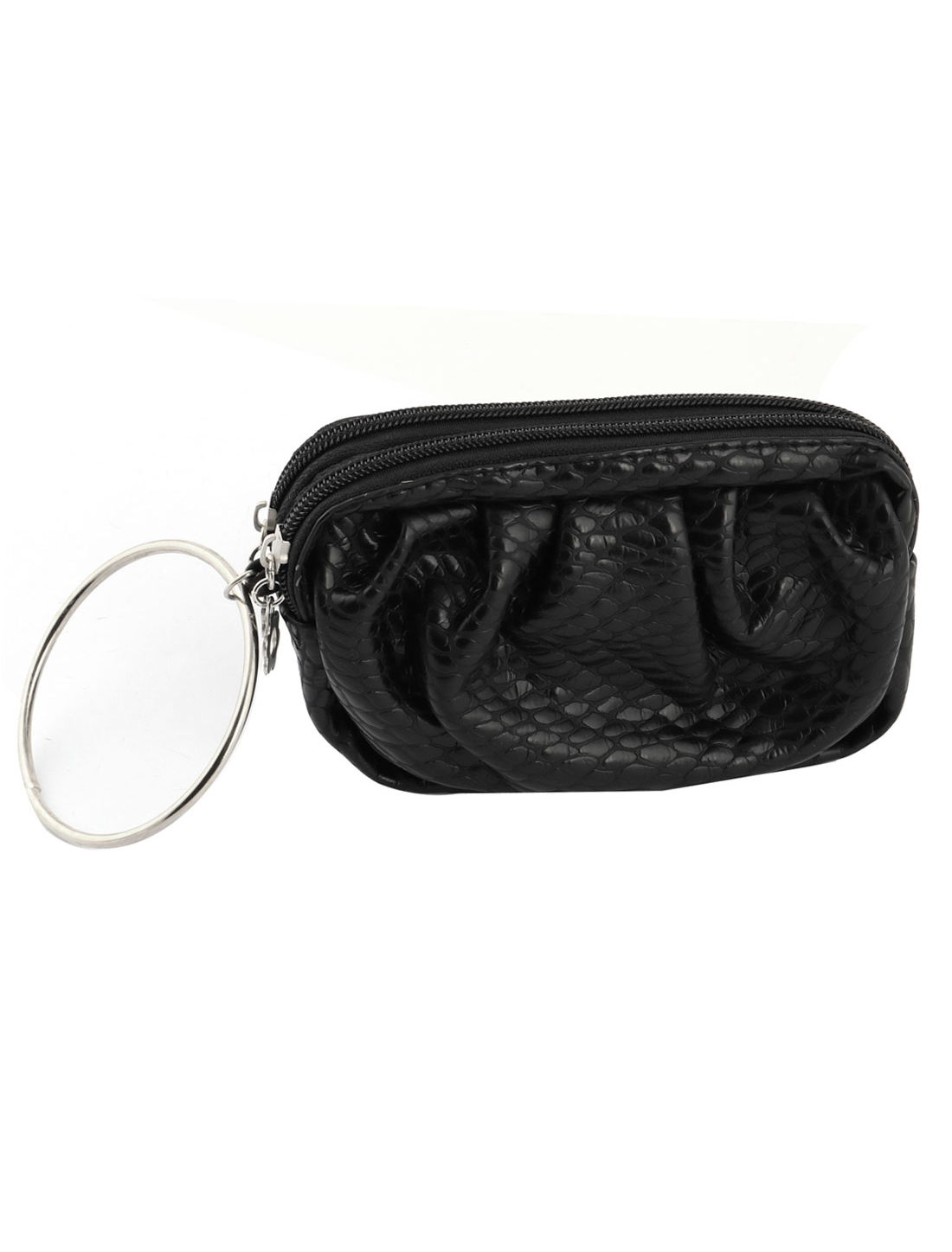 Women Faux Leather Zipper Up Phone Keys Money Coin Holder Wallet Purse keyring Black