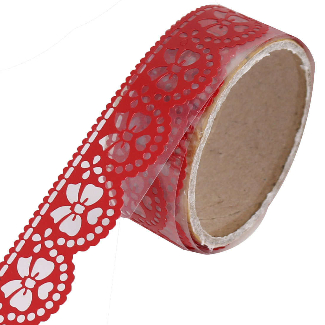 Bowknot Pattern Decorative Masking Adhesive Lace Sticky Paper Tape Red