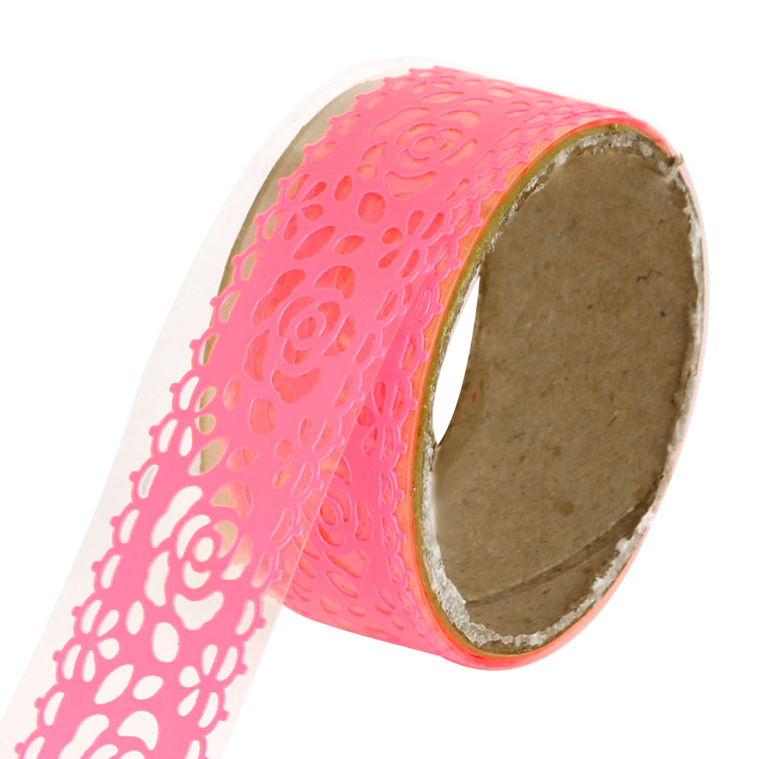 Rose Pattern DIY Decorative Sticky Paper Masking Adhesive Lace Washi Tape Neon Pink