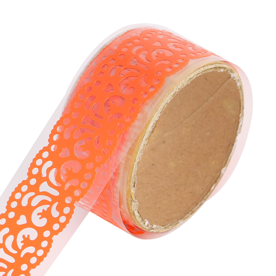 Floral Lace Pattern Self Adhesive DIY Scrapbooking Decorative Sticky Tape Orange