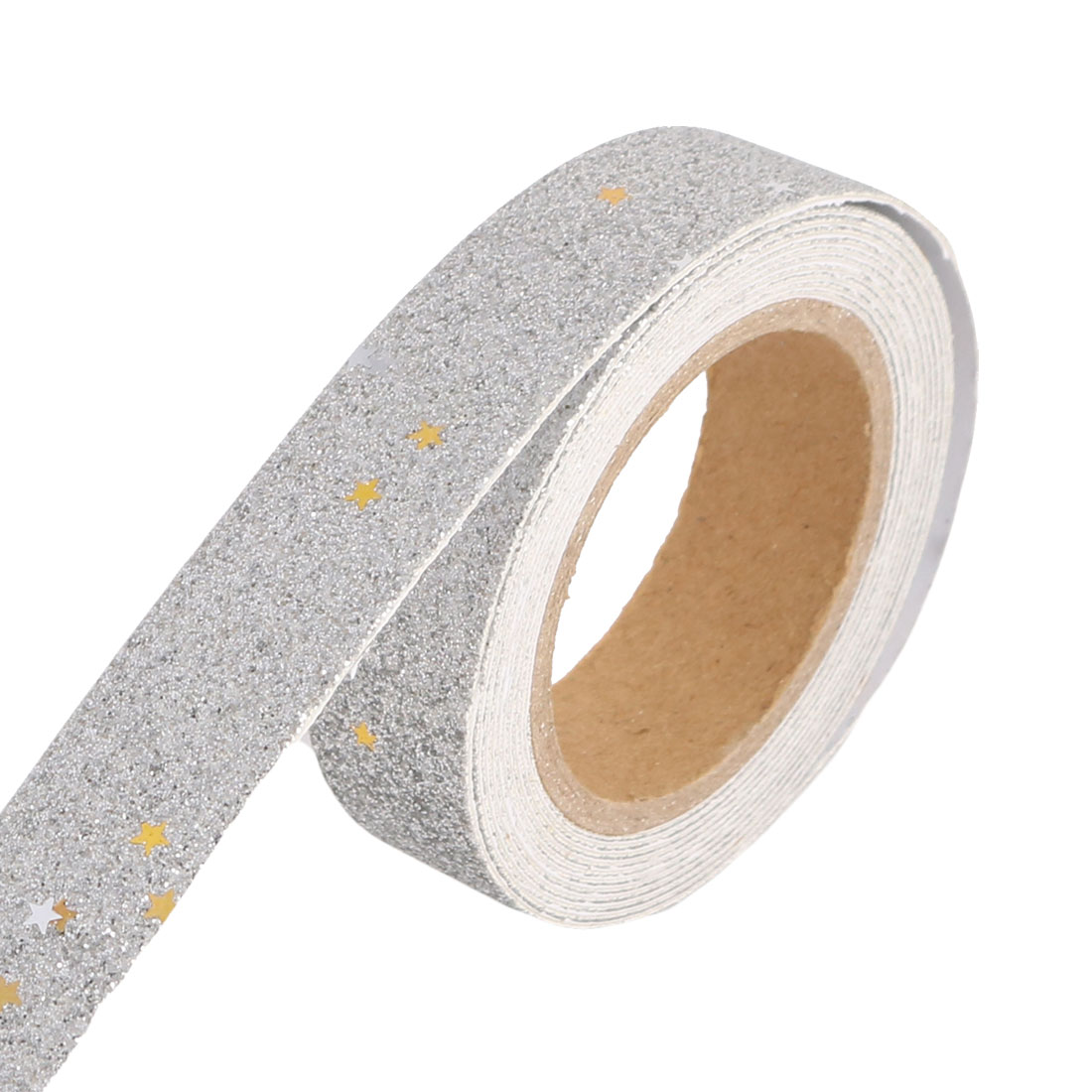 Scrapbooking DIY Craft Glittering Star Decoration Sticky Paper Tape Roll Silver Tone