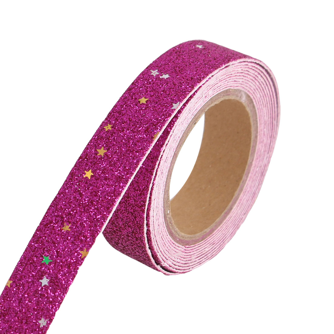Glitter Self Adhesive Decorative DIY Crafting Sticky Paper Tape Sticker Fuchsia
