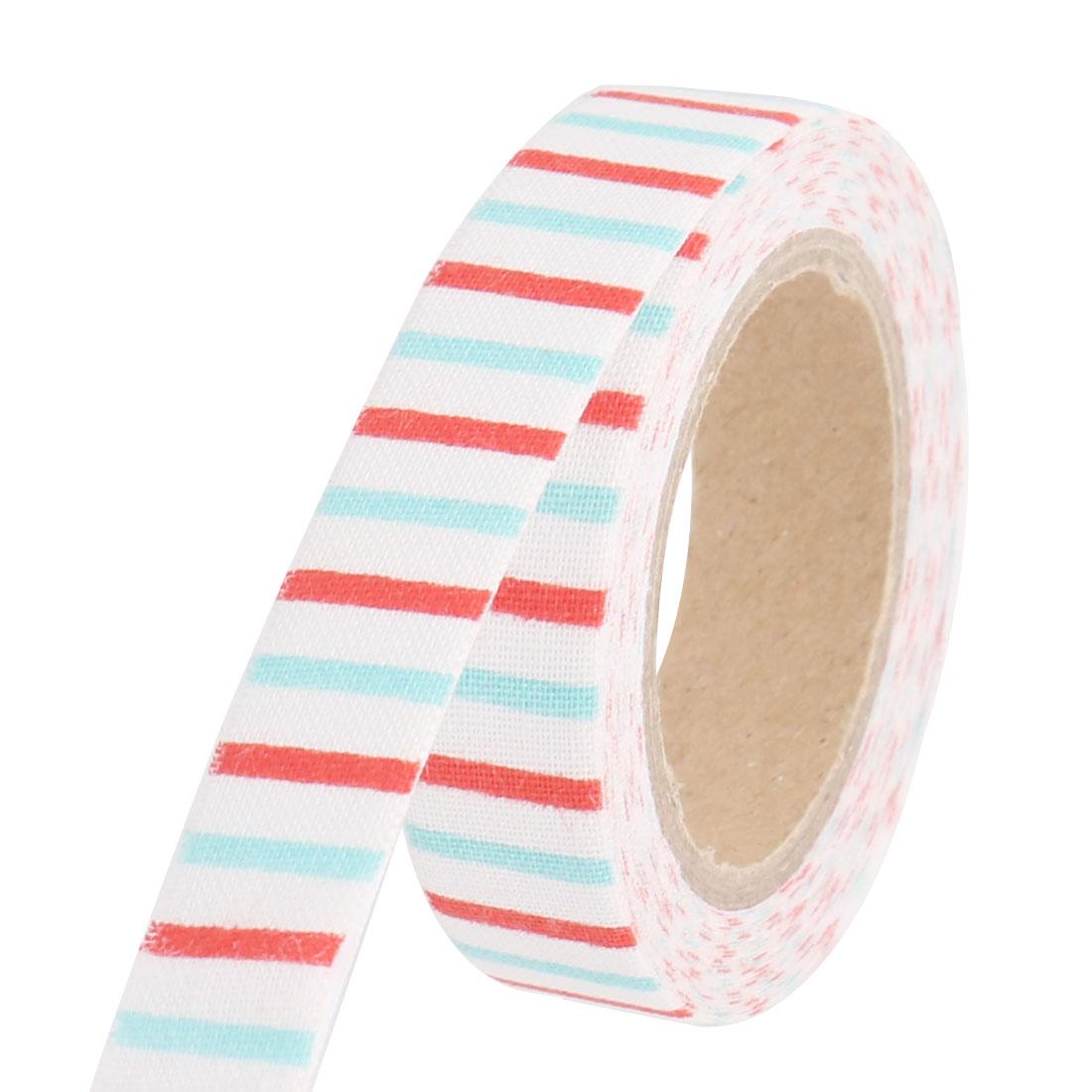Stripe Pattern Scrapbooking DIY Craft Decorative Masking Sticky Tape Roll Sky Blue Red