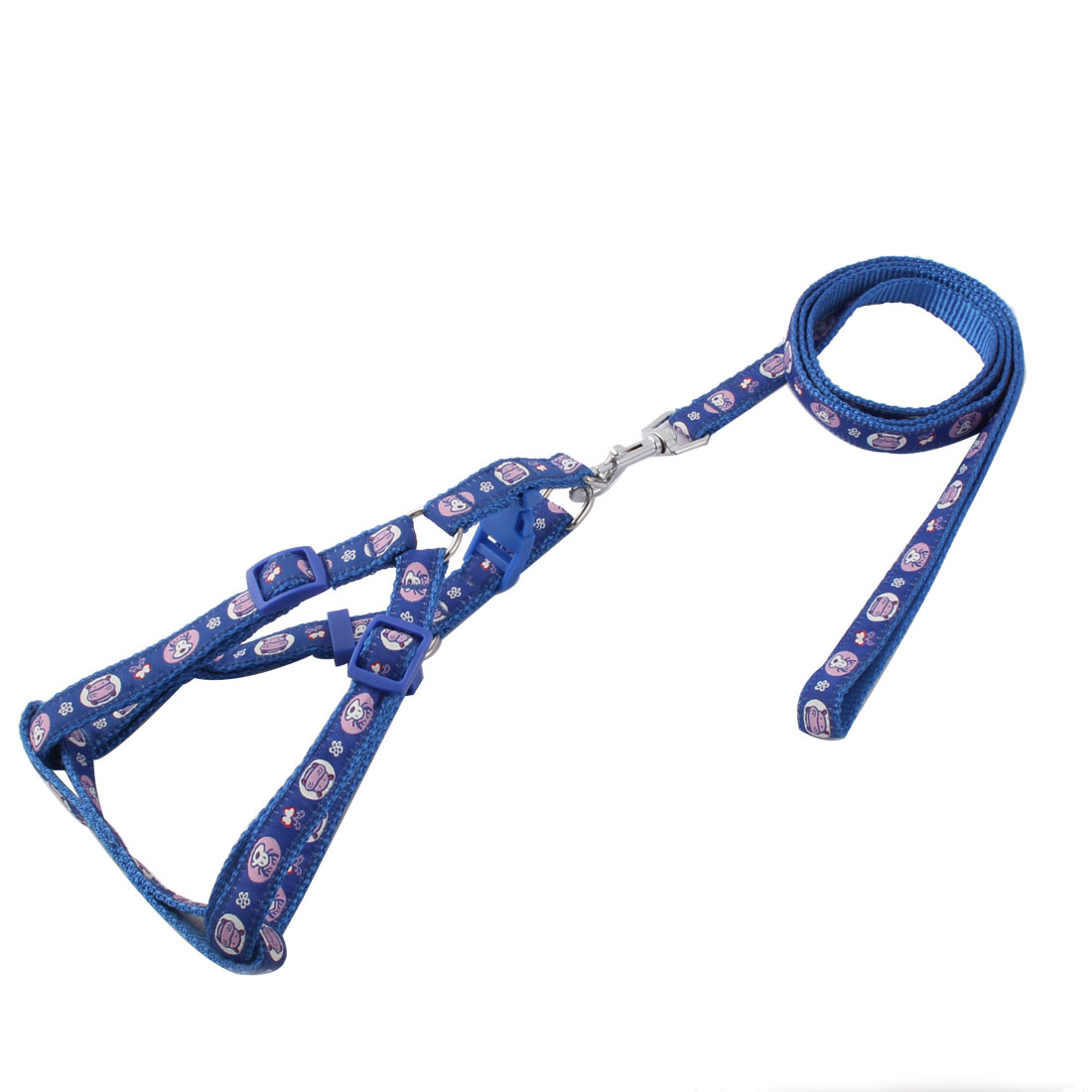 Pet Nylon Reindeer Print Walking Control Puppy Dog Harness Leash Collar Rope Blue