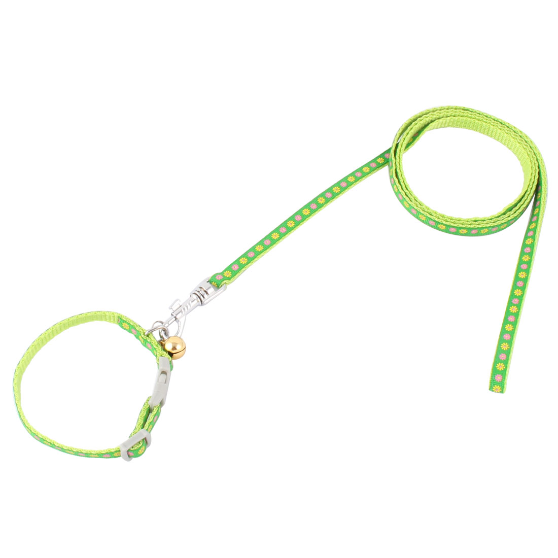 Pet Nylon Flowers Print Walking Control Adjustable Puppy Dog Neck Strap Collar Rope Green
